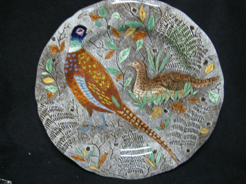Gien French Faience Rambouillet Pheasants Birds Dinner Plate