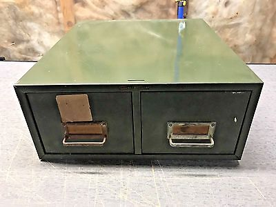 Vintage Asco Steelmaster 2 Drawer Card Cabinet  Filing Cabinet Army Green