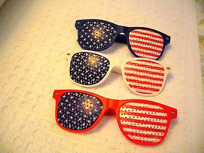 SUNGLASSES PATRIOTIC USA AMERICAN FLAG ~ RED WHITE & BLUE ~MEMORIAL~4TH OF JULY - Red White Blue Sunglasses