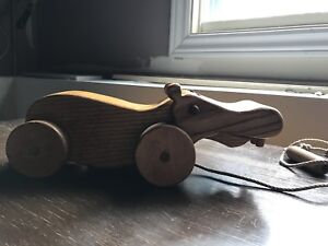 Wooden vintage hippo toy