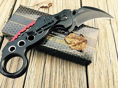 """TAC FORCE SPRING ASSISTED TACTICAL KARAMBIT FOLDING POCKET KNIFE Open 7.75"""""""