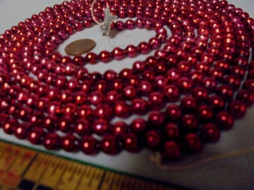 "Christmas Garland Mercury Glass Red-Purple, 102"" Long, 3/16"" Beads DN12 Vintage"