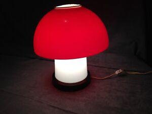 Lampe retro vintage champignon Gilbert rouge et blanche