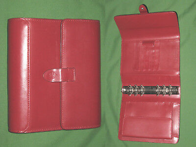 Compact 1.25 Red Leather Franklin Covey Planner Binder Organizer Open 2198