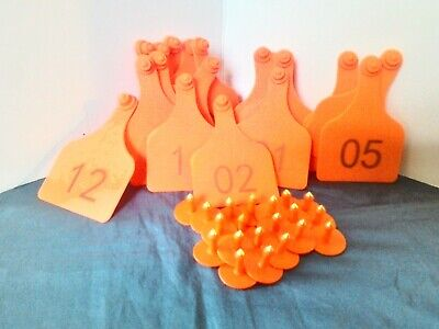 Cow Ear Tags Orange Numbered 1-20