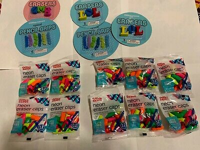 Original Office Depot Neon Eraser Caps 5 Packs Of 12 Assorted Color Erasers Lot