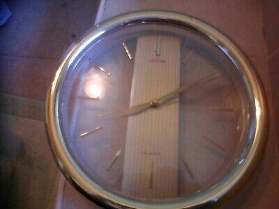 "VTG Sunbeam Wall Clock Quartz.12"" clear plastic front & back w gold frame Modern"