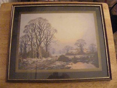 WATERCOLOUR PRINT SIGNED VINCENT SELBY SNOWY MORNING IN COUNTRYSIDE VGC