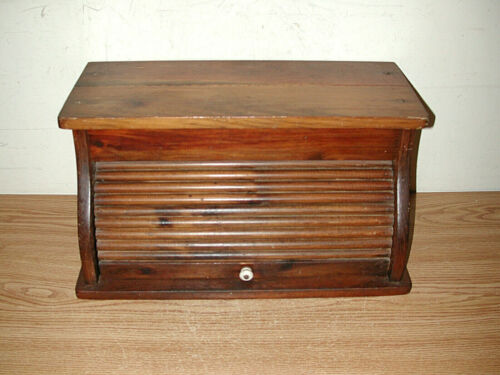 LARGE VINTAGE WOODEN ROLL TOP BREAD BOX