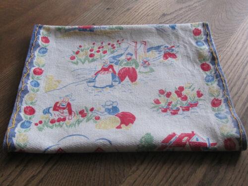 Vintage Cotton Linen Dresser Scarf/Table Runner Holland Scene/ Windmill Tulips