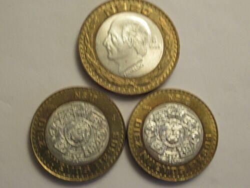 THREE 1993 Mexico silver Coins, 2 10 centavos + 1 20 centavos