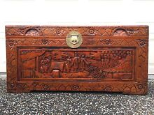 Hand carved camphor chest blanket box wooden chest glory box Regents Park Logan Area Preview