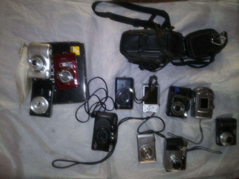 Lot 12 Working & Non-Working Cameras Kodak Nikon Sony Olympus  Minolta Canon