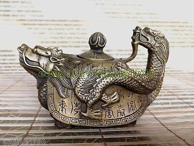 Old Bronze Carved Dragon Tortoise Teapot Kangxi Mark kettle Tibet Pot