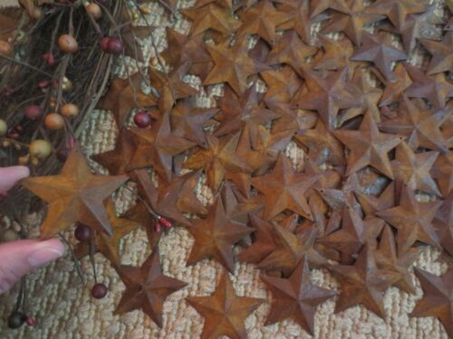 Lot of 100 Primitive RUSTY BARN STARS 1.5 inch Rustic Country Rusted Dimensional