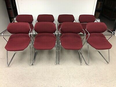 Vintage Acton Stacker Mid Century Modern Chrome Red Stackable Chairs Set Of 8