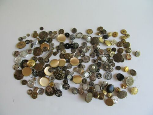 Vintage Brass Silver Tone Gold Tone Sewing Buttons For Crafts 11 Oz.
