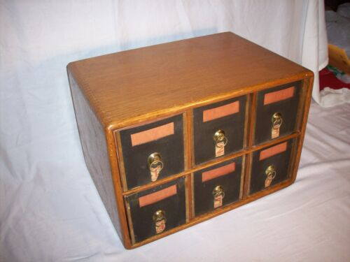 ANTIQUE VINTAGE OAK SIX DRAWER OFFICE APOTHECARY FILE CABINET