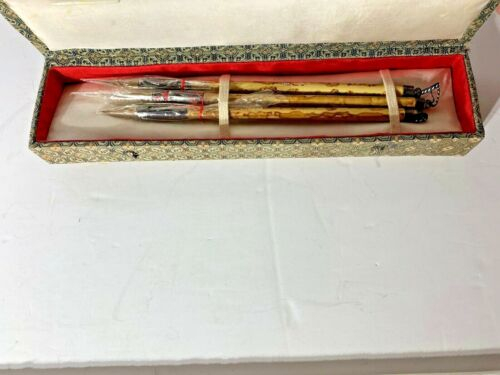 """New Vintage Chinese Bamboo Calligraphy Brushes- set of 3 in Box Hand Carved 8-9"""""""