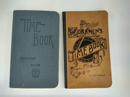 Vintage Ledger Monthly & Weekly Time Book Has Calculated Table of Wages