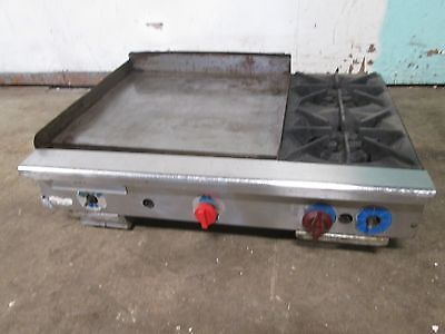 American Delux Hd Commercial 36 Natural Gas C-top Griddle W2 Burner Stove