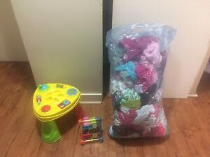 Baby girl clothing and toys