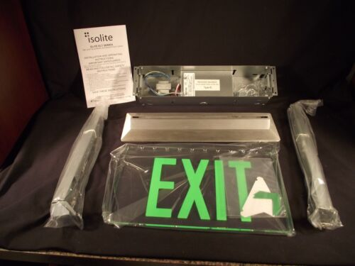 LED Edge lit green Exit sign. High end architectural. ISOLITE ELTacg1cbarcuc USA