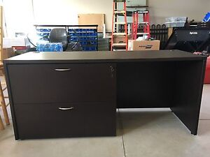 Commercial grade desk with 2 drawer lateral filing cabinet