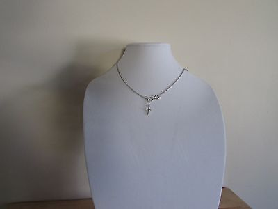 Infinity with Cross on Lariat Style Chain Necklace Pendant Silver Figure (Figure Eight Pendant Necklace)