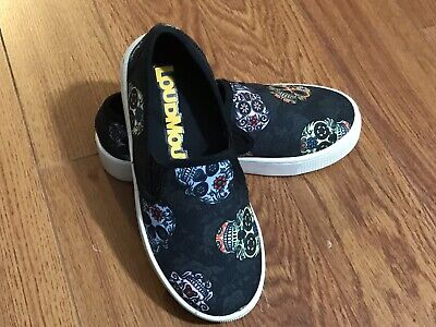 LM Loudmouth Kids Black Skull Graphic Canvas Boat Shoes Size 12.5M ()