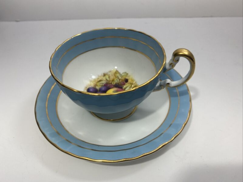 Vintage AYNSLEY Gold Rimmed with Turquoise, Bone China cup & saucer ENGLAND