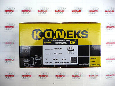 KONEKS;4XPISTON WITH RINGS,FITS NISSAN,OPEL,RENAULT ESPACE,2.2DCI 16V G9T720 STD