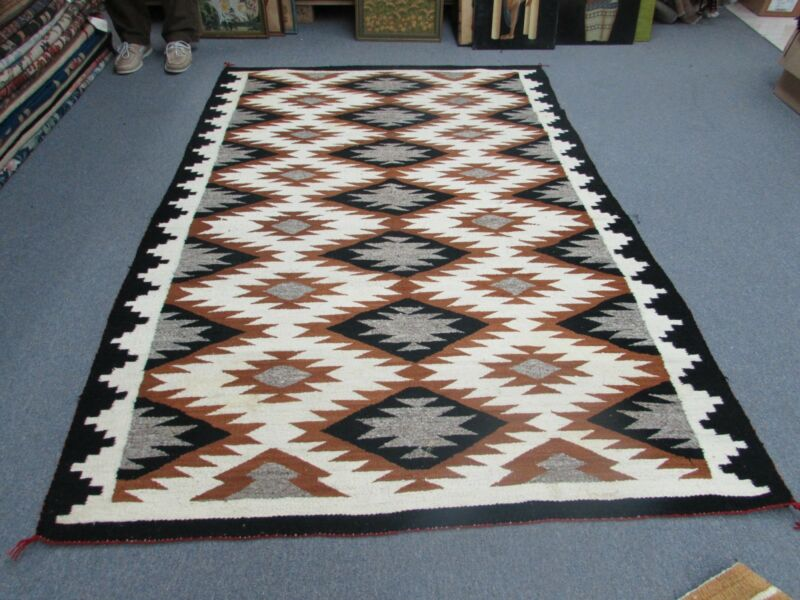 """Vintage Southwest American Kilim Rug Hand Woven Weaving Wool 58"""" X 84"""" Blanket"""