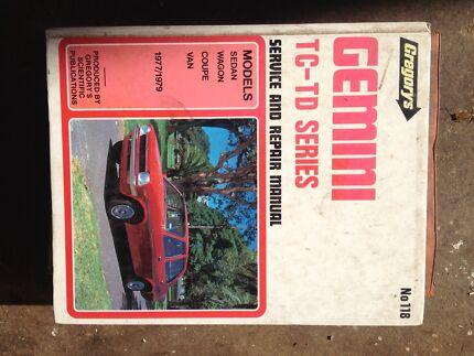 Holden gemini tc- td series workshop manual Morisset Lake Macquarie Area Preview