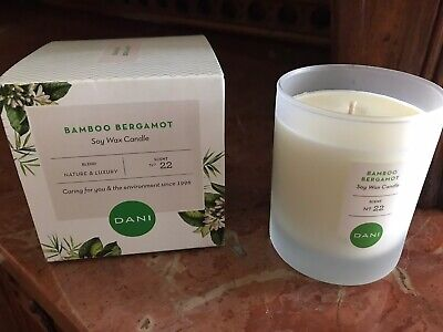 DANI Naturals Bamboo Bergamot Candle 60 Hr Burn Time 100% Soy 100 Hr Soy Candle