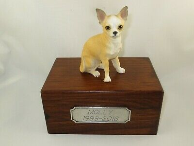 Beautiful Paulownia Small Wooden Personalized Urn Tan & White Chihuahua Figurine ()