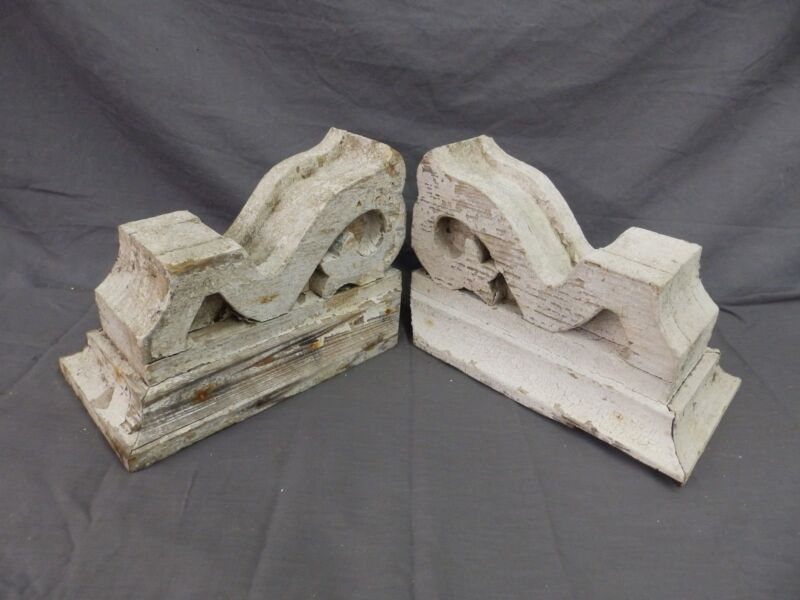 Antique Pair Corbels Wood Small Victorian Architectural Shabby Vtg Chic 520-17P
