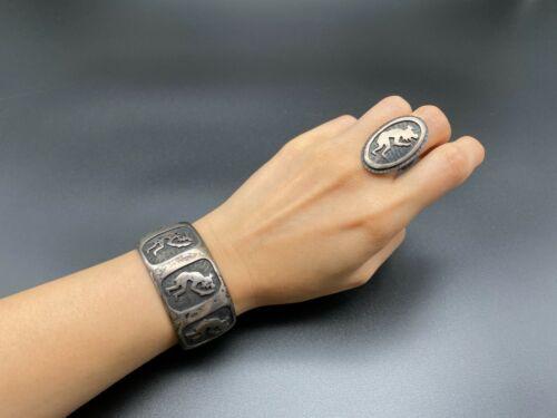 Vintage Hopi Bernard Dawahoya Mudhead Sterling Silver Bracelet Ring Size 6.5 Set