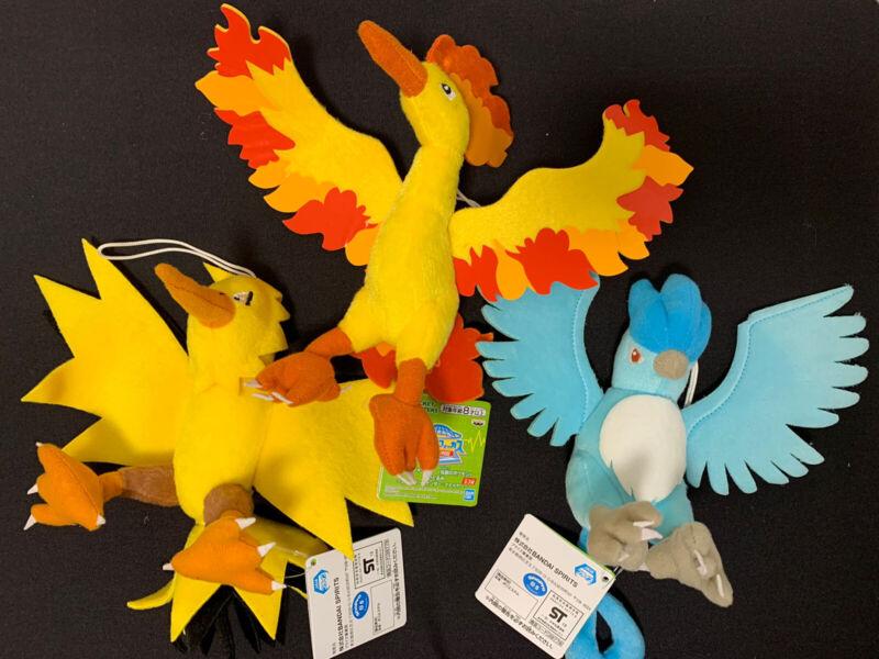"Pokemon Set Of 3 Legendary Birds Moltres Zapdos Articuno Plush Licensed 6.5"""