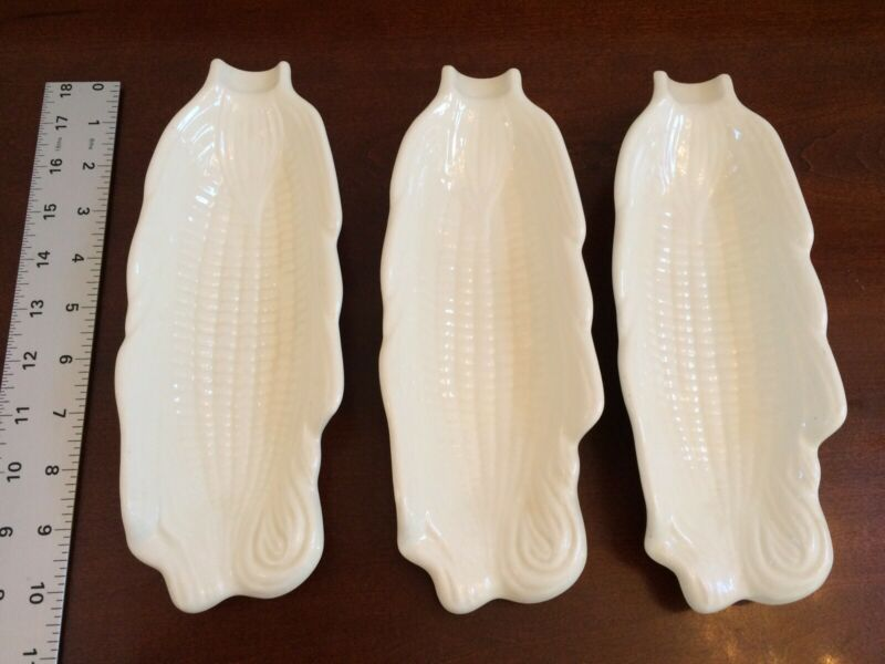 3 Vintage Ceramic Corn On The Cob Serving Dish Plate Holders - Molds Marked bh85