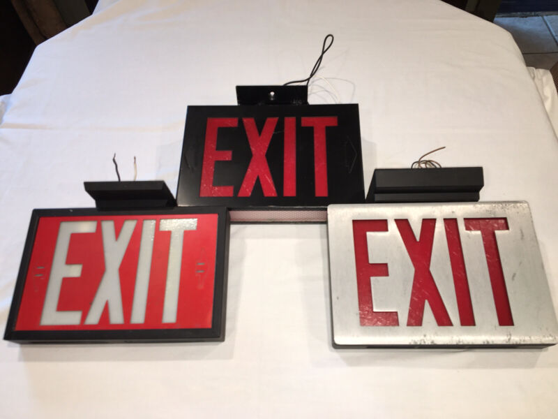 Vintage Lighted Exit Signs. No battery back up. Believe They're 80's And Older.
