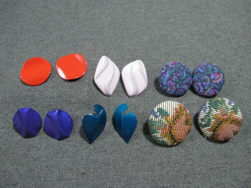 Vintage different enamel metal & lined in fabric earrings lot