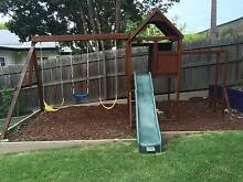 Kids timber fort with swings, slide, climbing wall, monkey bars Ashgrove Brisbane North West Preview
