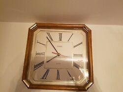 Linden Oak Kitchen Wall Clock Oak and Brass accent works well