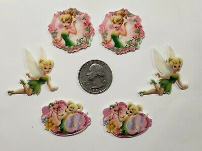 Used, 6 Pcs Lot Tinkerbell mixed lot Flatback Resin Cabochon Hair Bow Center Supplies. for sale  Perris