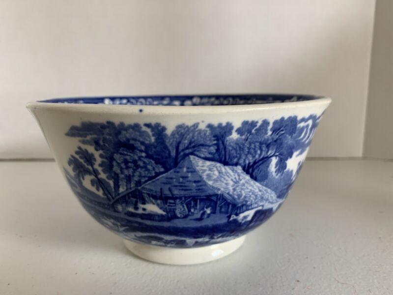 VTG George Jones England Transferware Bowl Farm Pattern Flow Blue