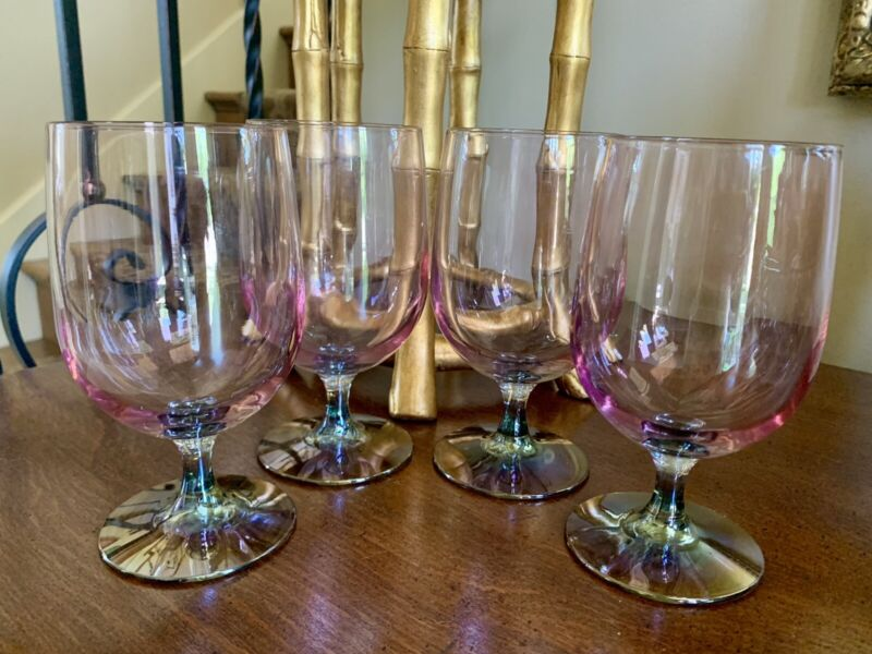 Vintage Set Of 4 Pink and Gray Iridescent Carnival Glass Water Goblets