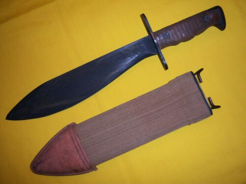 1918 M1917 US PLUMB BOLO KNIFE & TYPE 1 BAUER BROS. SCABBORD MINT UNISSUED USMC
