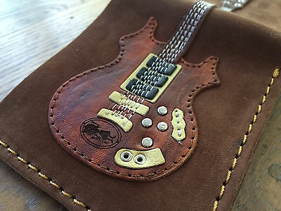 Jerry Garcia Rosebud Leather Mens Guitar Wallet w/ Guitar Pick Holder