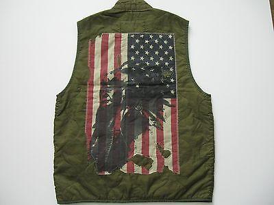 DENIM & SUPPLY RALPH LAUREN Men's Distressed Flag Patch Quilted Vest L